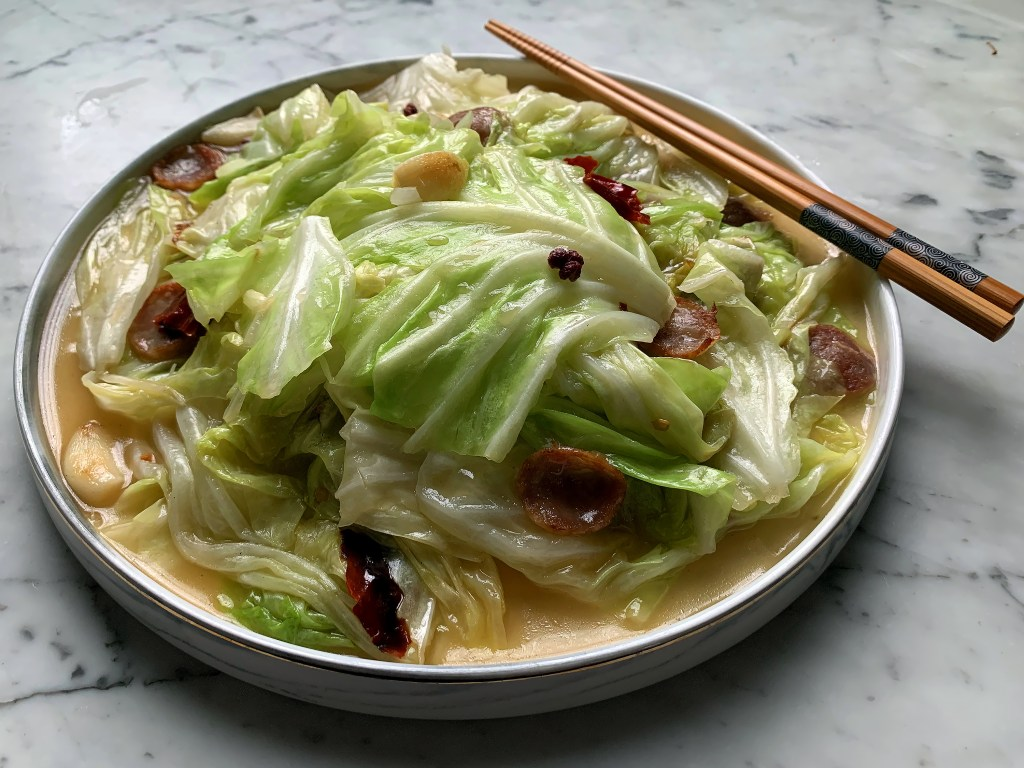 Hand Torn Flat Cabbage With Chinese Sausage And Garlic