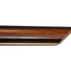 Wood frame with darker bevelled outer edge and bevelled gold inner edge. 30mm