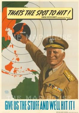 Falter (John): Thats the Spot to Hit! Published Washington, 1944. Propaganda poster featuring Admiral Chister W. Nimitz. [WAR28]