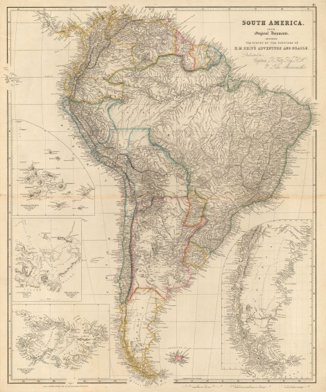 Map of South America with charts of Patagonia, Galapagos, and the Falklands showing the route of Charles Darwin and the H.M.S. Beagle. Arrowsmith, 1842. [SAM3179]