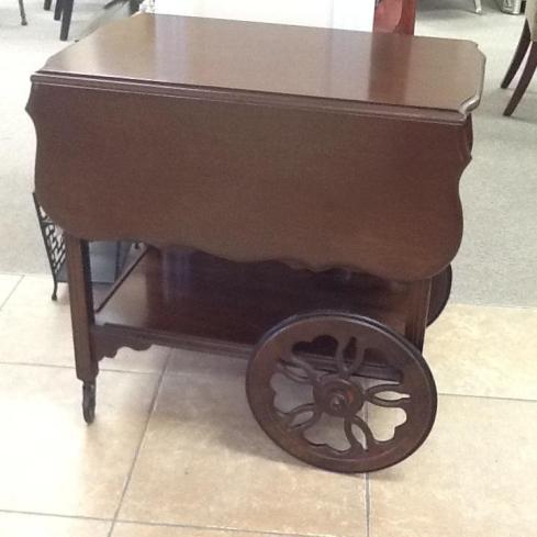 Tea Cart / Trolley 30 x 18 1/2 with 2 x 11 1/2″ drop leaves, 2 shelves Location: Aurora $382.88