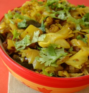 Cabbage and potatoes get a new lease on life in this delicious Northern Indian dish.