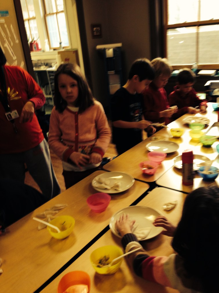 All students got to taste the dumplings (jiaozi), but the elementary students got the chance to roll their own!