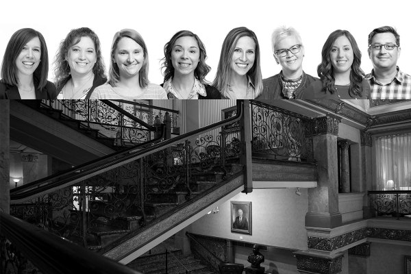 Bader Rutter team and Pfister Hotel staircase