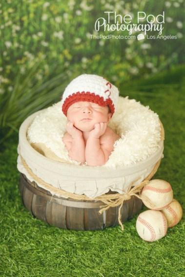baseball-newborn-baby-at-professional-photo-studio-manhattan-beach