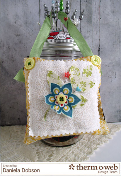 Decorative pillow by Daniela Dobson Therm O Web