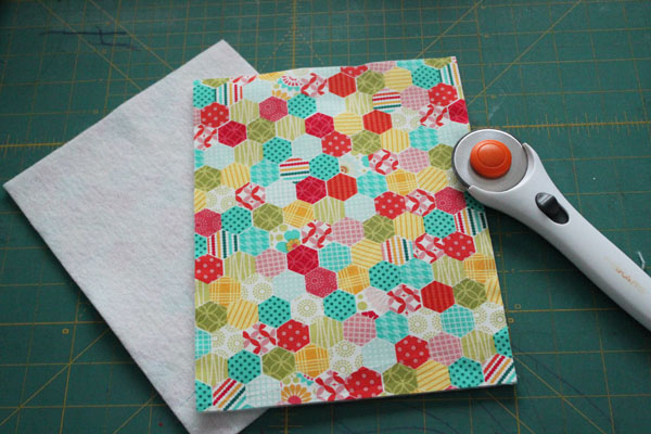 fusible fleece on two pieces
