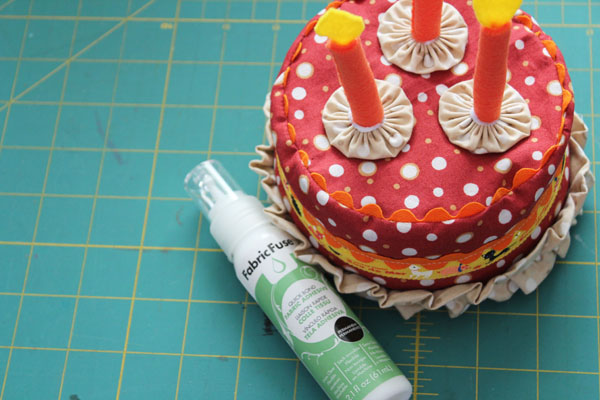 glue on candles and icing