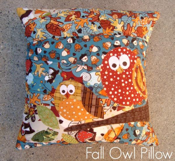 fall owl pillow applique
