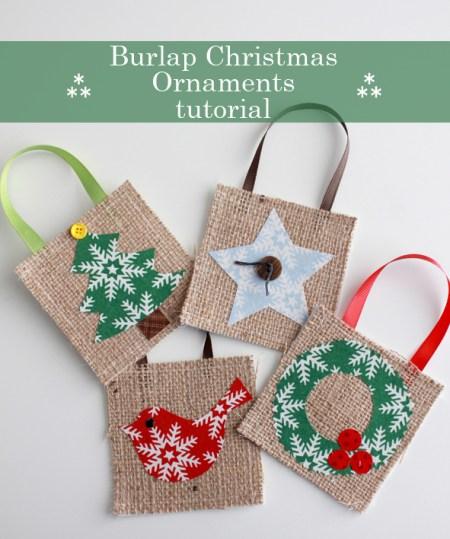 Burlap Christmas Ornament Tutorial