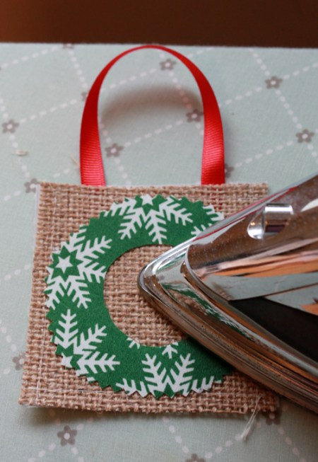 Burlap Christmas ornaments 10