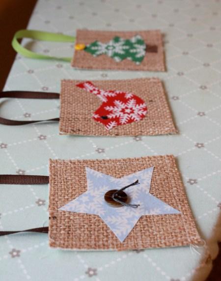 Burlap Christmas ornaments 11