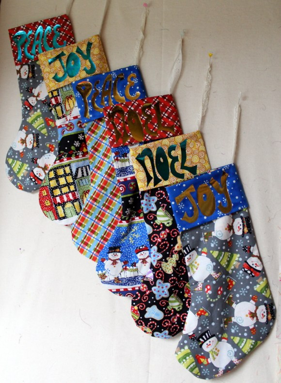 Holiday Stockings with deco foil