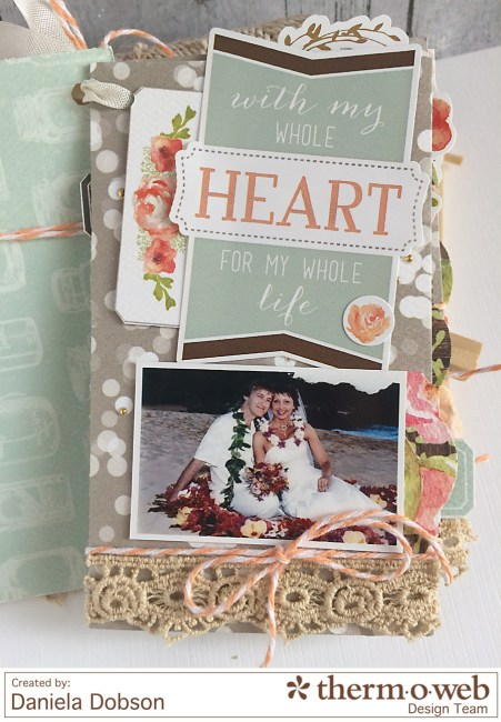 Just Married mini album page 1 by Daniela Dobson for Therm O Web