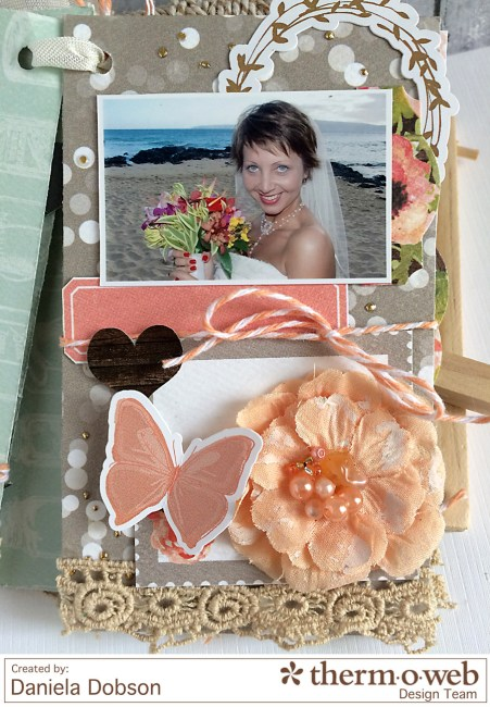 Just Married mini album page 3 by Daniela Dobson for Therm O Web