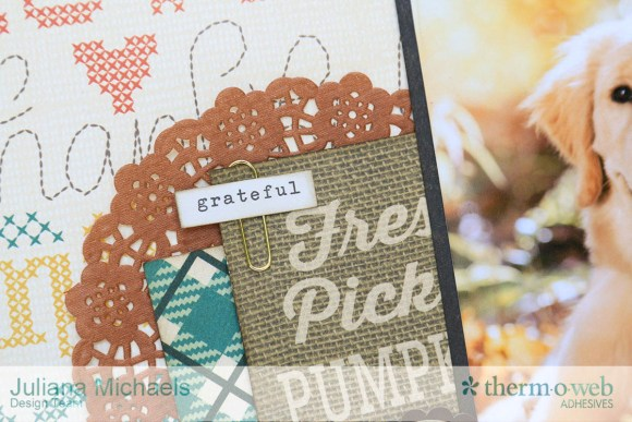 Beautiful Fall Scrapbook Page by Juliana Michaels featuring Therm O Web Adhesives and DecoFoil