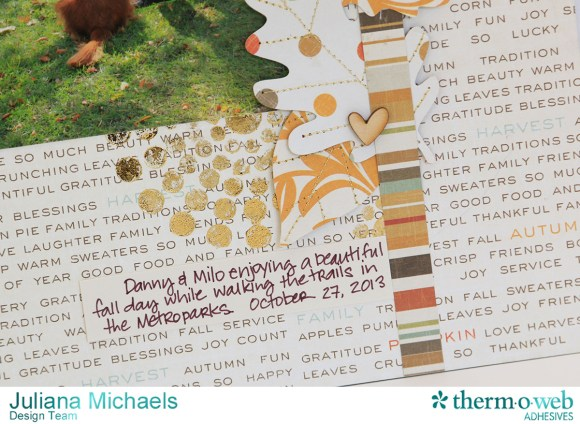 Thankful Fall Dog Scrapbook Page featuring Therm O Web Deco Foil and Adhesives by Julian Michaels
