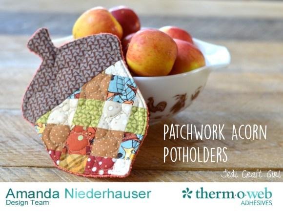 patchwork acorn potholders