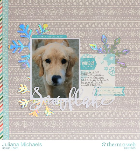 Snowflake Winter Puppy Scrapbook Page featuring Therm O Web Decofoil and Adhesives by Juliana Michaels 17turtles 01