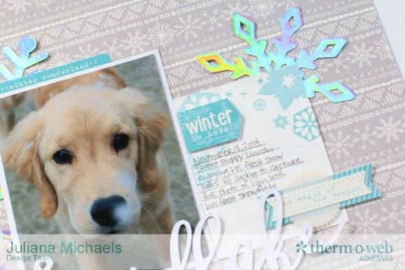 Snowflake Winter Puppy Scrapbook Page featuring Therm O Web Decofoil and Adhesives by Juliana Michaels 17turtles 03