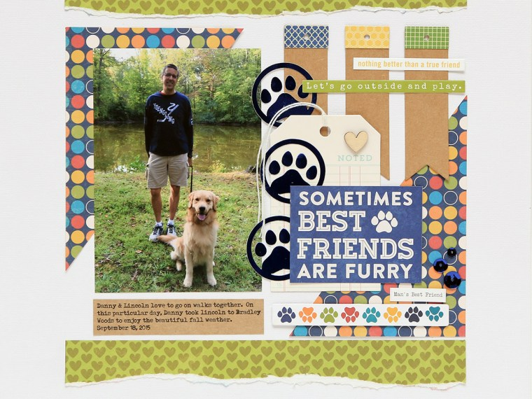 Best Friends Dog Friendship Scrapbook Page by Juliana Michaels featuring Therm O Web Adhesives, Peel N Stick Toner Sheets and Deco Foil