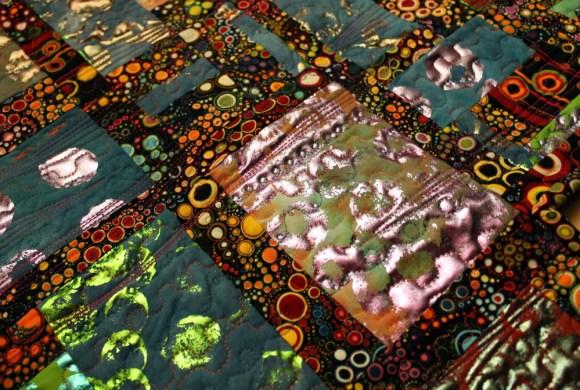 deco foil fabric fuse quilting close up