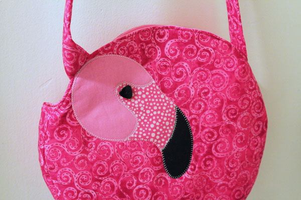 finished flamingo tote