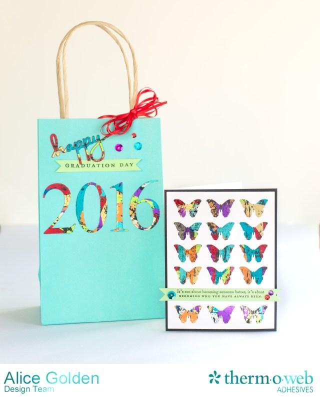 Alice Golden TOW DecoFoil Scraps Graduation Card and Gift Bag 1
