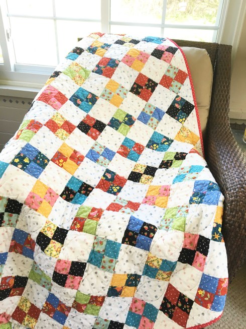 patch quilt on chair
