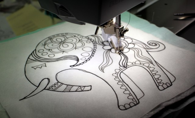 quilting out elephant outline