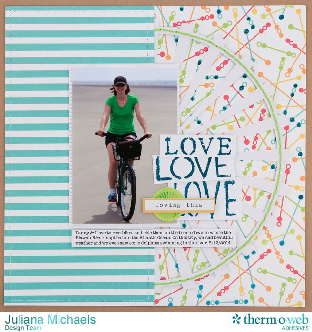 Love Beach Summer Scrapbook Page by Juliana Michaels featuring Therm O Web DecoFoil, Liquid Adhesive and Designer Stencils