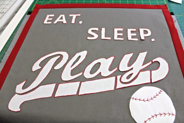 Deco Foil Hotmelt baseball pillow by Carla Henton