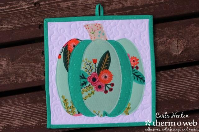 Pumpkin potholder for Thermoweb by Carla Henton Meriweather fabric heatnbond lite