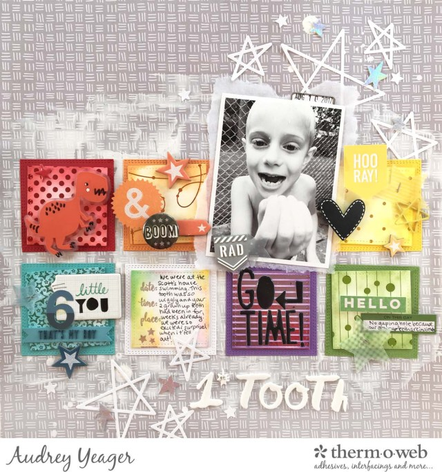 1st Tooth Mixed Media Layout by Audrey Yeager