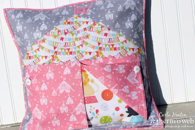 Big top circus pillow quilt as you go with fusible fleece by Carla Henton for Thermoweb