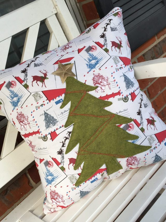 Sculptured Christmas Tree Holiday Pillow Tutorial