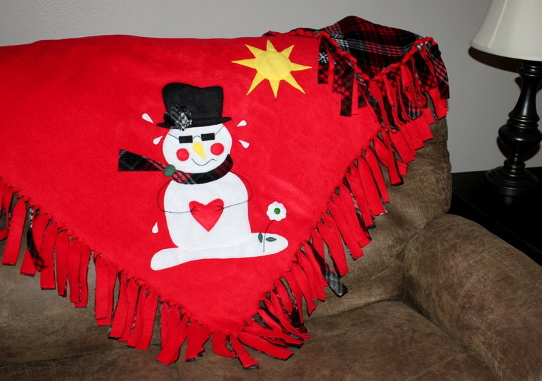 Snowman Fleece HeatnBond Soft Stretch Blanket