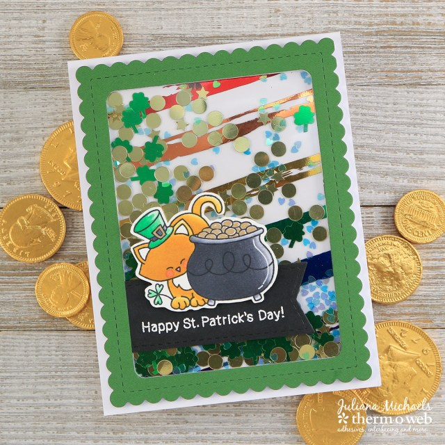 St. Patrick's Day Rainbow Shaker Card by Juliana Michaels featuring Therm O Web Deco Foil, Designer Transfer Sheets and Newton's Nook Designs Stamps