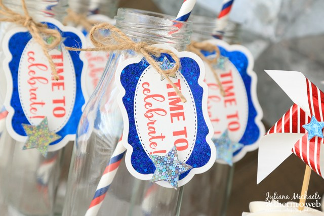 Fourth of July Foiled Drink Bottles by Juliana Michaels featuring Therm O Web Gina K Designs Fancy Foils