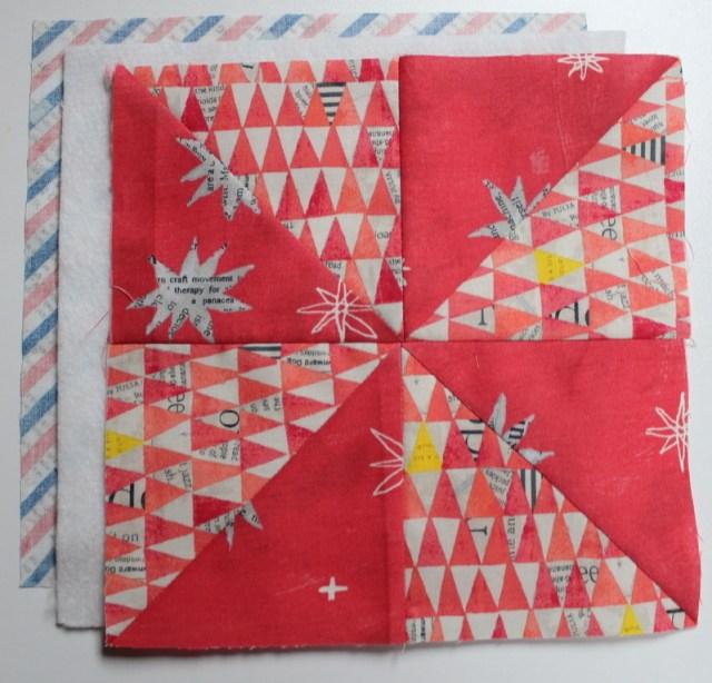 layer pinwheel, fusible fleece and backing