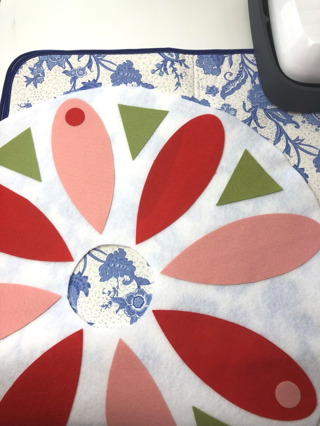 fuse all of your petals, circles and triangles to create a no sew tree skirt