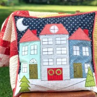 Winter Village Pillow with HeatnBond Fusible Adhesive