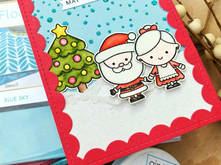 Santa Card with Glitz and Flock