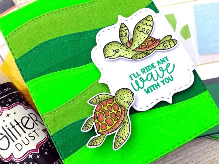Sea Turtle Card with Deco foil Flock