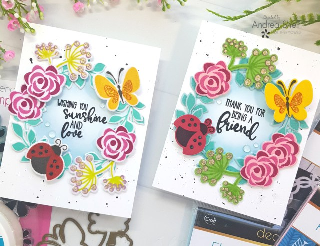 Wreath Cards by Andrea Shell | Petals & Wings Stamp N Stencil by Therm O Web
