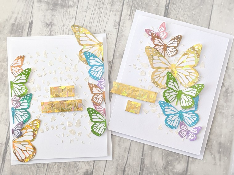 Rainbow Foiled Butterfly Cards