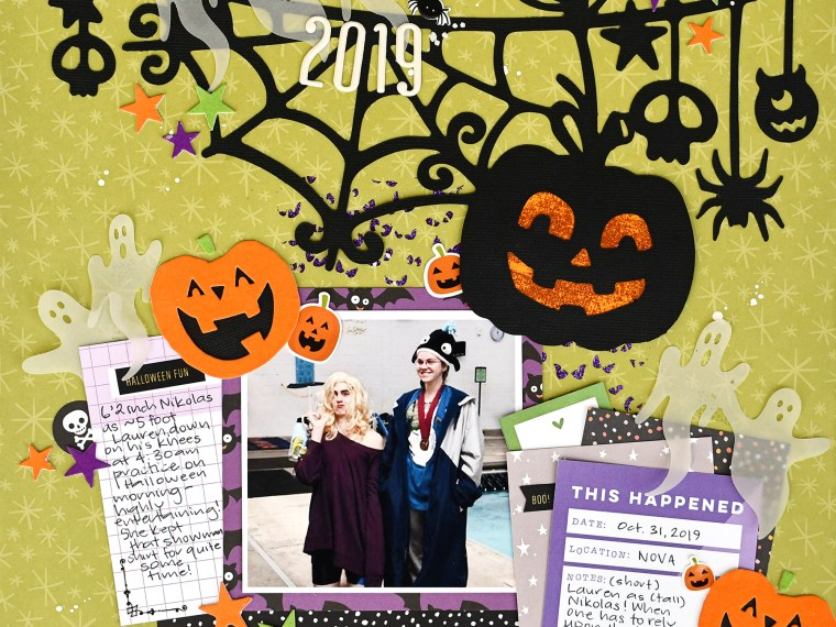 Halloween Scrapbook Page with Deco foil Flock