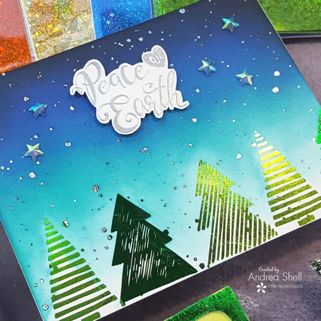 Peace on Earth foiled card by Andrea Shell | Flurry Forest Card Front by Therm O Web