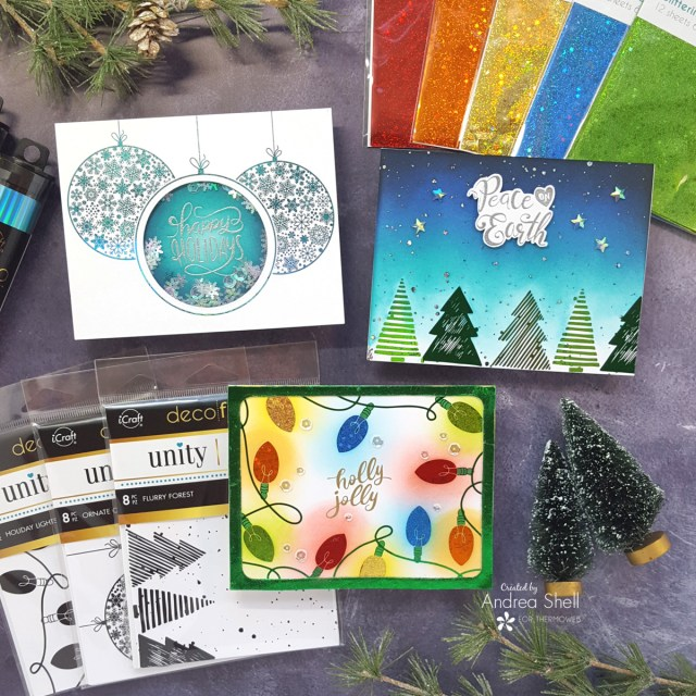 Trio of Foiled Christmas cards by Andrea Shell   Unity Toner Card Fronts by Therm O Web