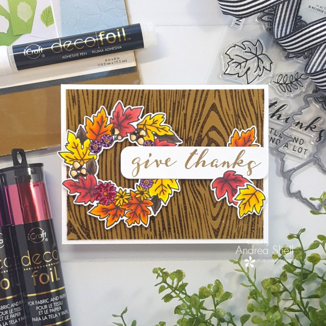 Give Thanks card by Andrea Shell   In All Things stamp by Reverse Confetti